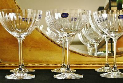 Boxed set of 6 Bohemia Crystal Waterfall Champagne Saucers. NEW