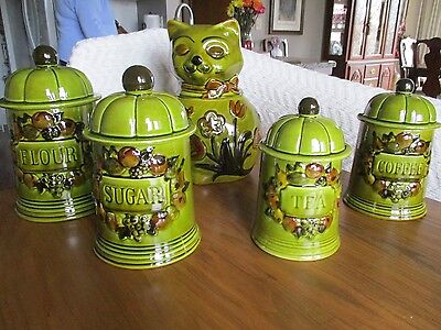 vintage 1967 los angeles pottery 5 PC canister set Avocado green rare