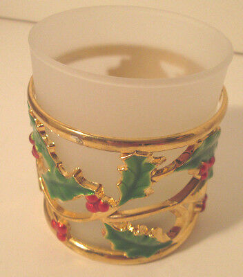 Lenox Holiday Gold Votive Candle Holder Holly and Berries NIB Christmas Holiday
