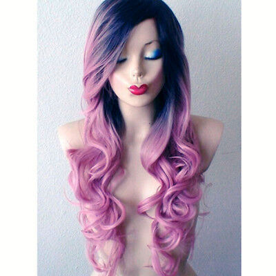 Women Black Purple Long Wavy Hair Wigs Synthetic Lace Front Party Cosplay Wig