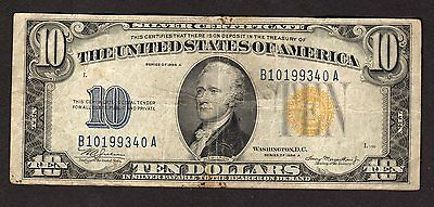 US 1934A $10 North Africa Silver Certificate Note in Circulated Condition