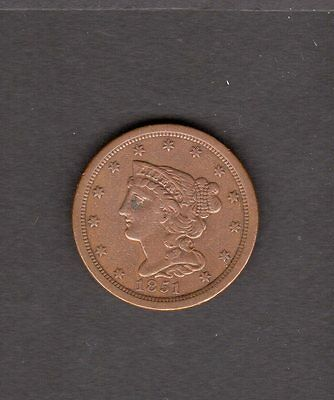 US 1851 Braided Hair Half Cent Coin in XF Extra Fine Condition - Great Coin!