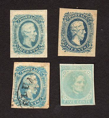 US Confederate States of America Lot of 4 Stamps - 3 Mint, 1 Used