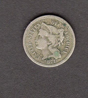 US 1874 3 Cent Nickel Coin in G-VG Condition