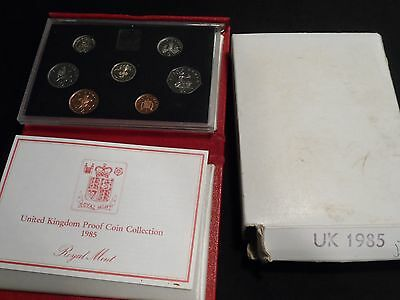 UK 1985 7 Coin Proof Set in Original Box with COA