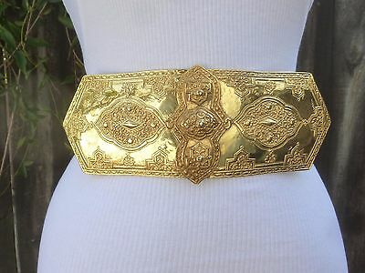 Vtg. Accessocraft Gold Tone Moroccan Style Double Buckle w/faux. Leather Belt
