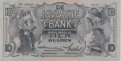 Netherlands Indies 10 Gulden Banknote 29.8.1939 Choice About Uncirculated #79-C