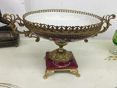 Vintage Alfa Porcelain Hand Painted Fruit Bowl With Brass Detail..made In Italy