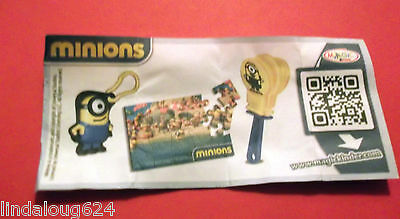 Minion 2015 Kinder Surprise Limited Edition Canada Keychain,Puzzle& Clapper NEW
