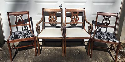4 Lyre Back Arm Chairs