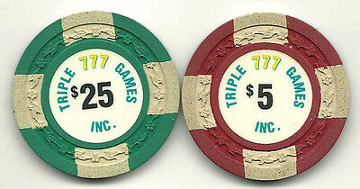 triple Games Inc. chips -- $25 and $5