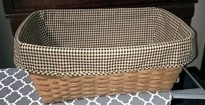 Small Laundry Basket Liner in Longaberger Khaki Check.  New and crisp