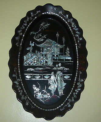 antique chinese mother of pearl lacquer wall hanging