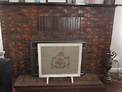 Antique Vintage Fire Place Screen With Tapestry & Glass Front Panel