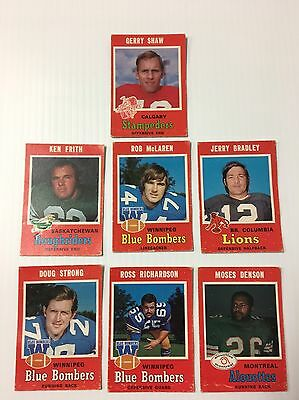 1971 O-Pee-Chee Opc Cfl Football - Lot Of 7 Cards