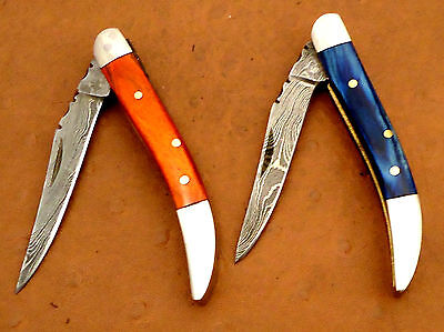 Pair Of Custom Handmade Damascus Steel Texas Toothpick Folding Pocket knife
