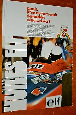French 1971 Huiles Elf Oil For Renault F3 Racing Ad / Affiche Retro Sport Auto