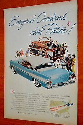 Blue 1957 Pontiac Chieftain 4 Door Hardtop Ad With Chris Craft Yacht / Boat 50S