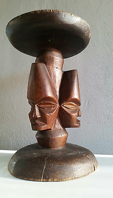Vintage Wooden Plant Stand Carved Heads African?