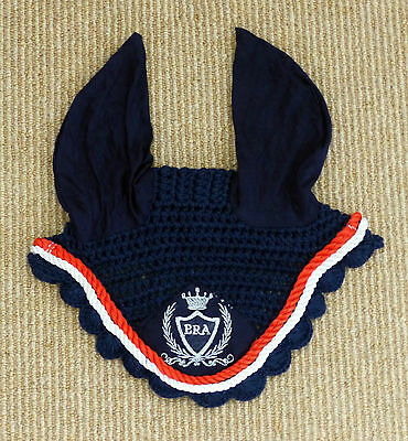 ERA Navy Ear Bonnet - Fly Net - Size Full - Red & White Trim - Free Post in Oz