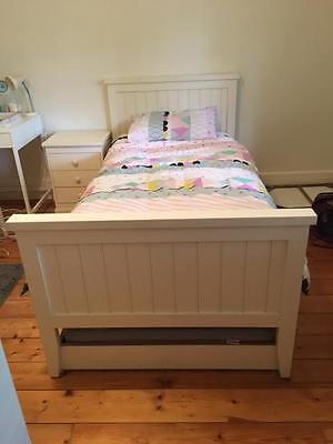 Children's single bed and bedside table
