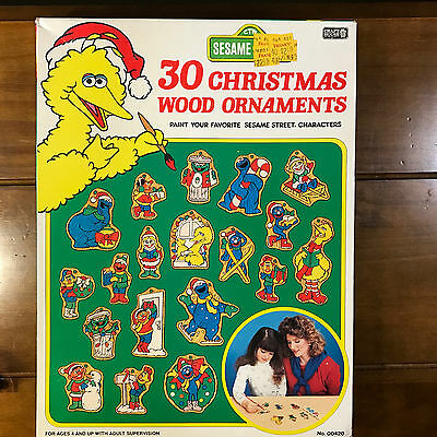 Vtg 1989 Craft House Sesame Street 30 Christmas Wood Ornaments Kit Sealed 00420