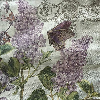 2 Paper Napkins Decoupage Lilac Floral Butterfly Beverage Craft Cypress