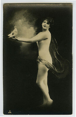 c 1910 French BODY STOCKING NUDE Pretty Young Beauty risque photo postcard