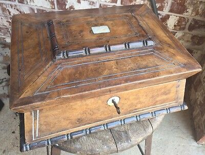 Antique Victorian Burlewood Sarcophagus MOP Wooden Jewelry Box w/Key, Inlay, Old