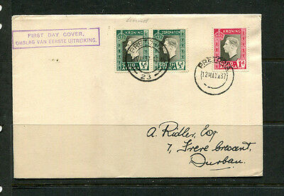 South Africa 1937 Fdc Coronation First Day Stamp Cover