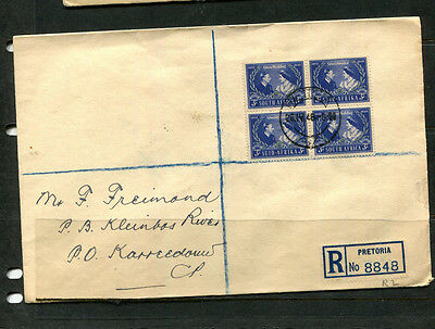 South Africa 1948 Fdc Silver Wedding Block Of 4 Registered Stamp Cover