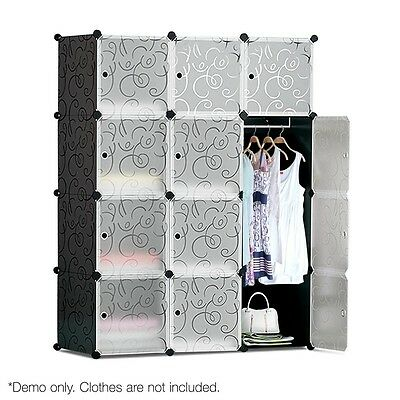 Wardrobe DIY 16 or 12 Storage Cube w/Hanging Rack Black or White