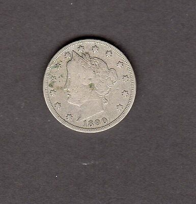 US 1890 Liberty V Nickel Coin in VG Very Good Condition
