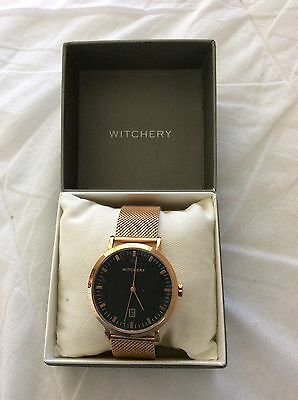 WITCHERY Rose Gold Metal Ladies Dress Watch - As New In Box