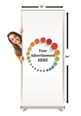 """Free HQ Printed Banner + Retractable Stand 33"""" x 80"""""""