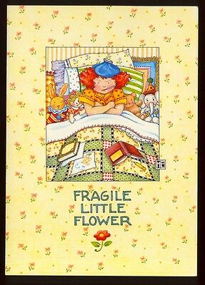 UNUSED 1995 Mary ENGELBREIT. GET WELL Greeting Card FRAGILE LITTLE FLOWER w/env