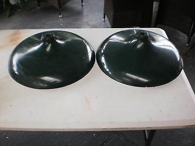 2 x Vintage Industrial Green Ceiling Lamp Shades -