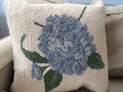 Hydrangea Pillow Flowers Accent Hooked Velvet Backing Beautiful  16 X 16