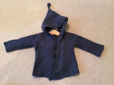 jojo Maman bebe blue cable knit cardigan 6-12 months