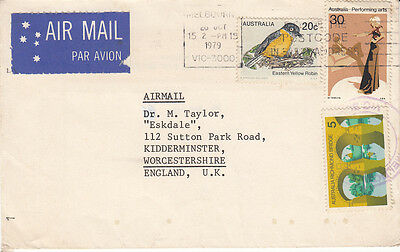 1979 Australia  Letter Cover To England  With 3 Stamps