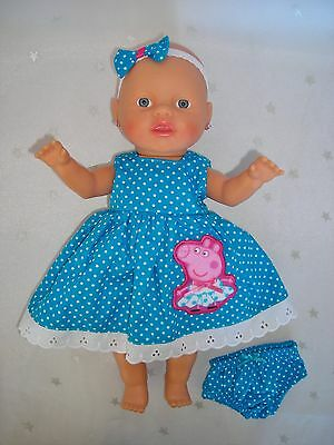 "Dolls clothes for 13"" My Little Baby Born Doll~PEPPA PIG AQUA SPOT DRESS~UNDIES~"