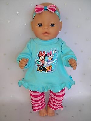 "Dolls clothes for 17"" Baby Born Doll~MINNIE MOUSE~DAFFY DUCK AQUA TOP~ LEGGINGS"