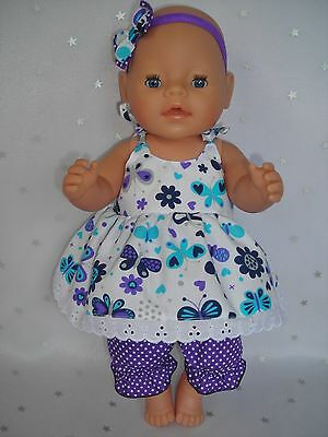 "Dolls clothes for 17"" Baby Born doll~BUTTERFLIES~FLOWERS~AQUA/PURPLE STRAP DRESS"