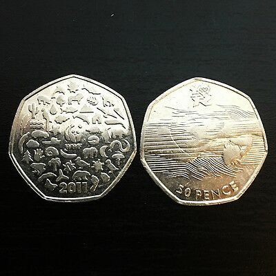 RARE collectable 50 pence coins - WWF -  LONDON OLIMPICS 2012 AQUATICS