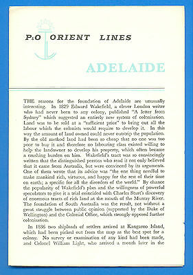 P& O ORIENT LINES.ADELAIDE.PORT GUIDE.SIZE 12.5 x 19cms