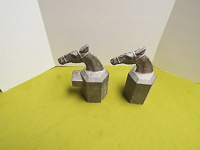Antique Metal Lead Decorative  Horse Stable Pair (2) Fence Post Gate Head Topper