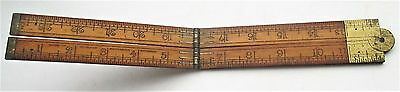 A vintage boxwood and brass  Folding Rule ruler by I&D Smallwood  Birmingham