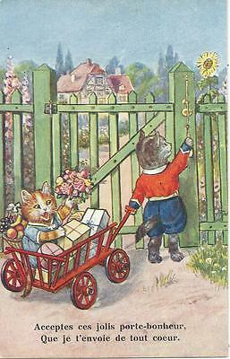 Cats with cart of gifts ring bell on gate
