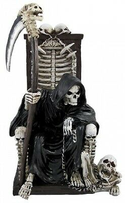 Grim Reaper on Throne with Undead Skeleton Pet Statue by Things2Die4
