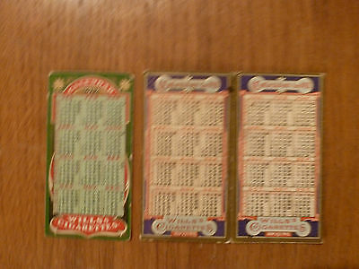 3 Wills Calenders Cigarette Cards